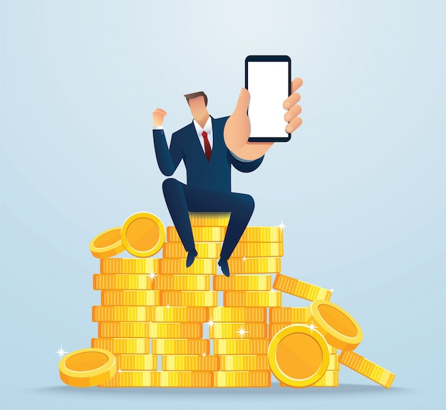 Businessman holding blank smartphone screen sitting on coins
