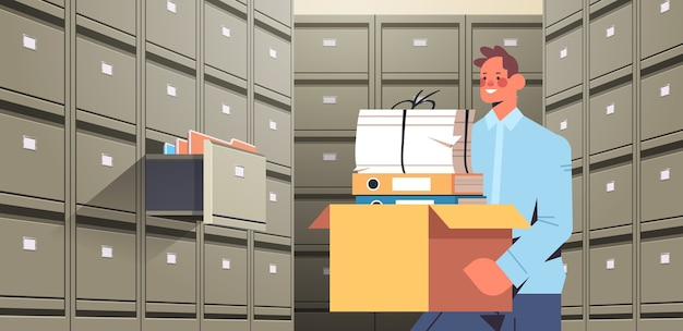 Businessman holding cardboard box with documents in filing wall cabinet with open drawer data archive storage business administration paper work concept horizontal portrait vector illustration