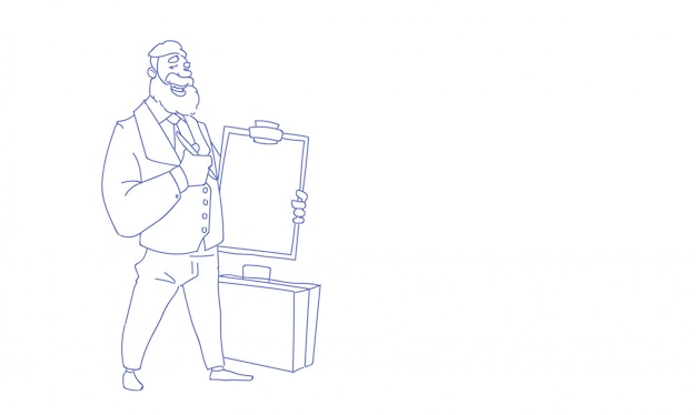 Businessman holding check list clipboard business survey form sketch doodle