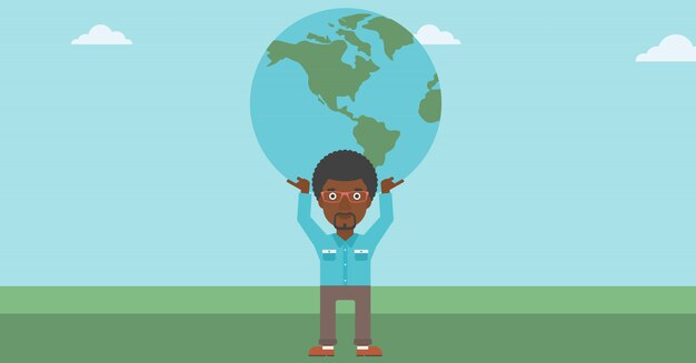 Businessman holding earth globe.