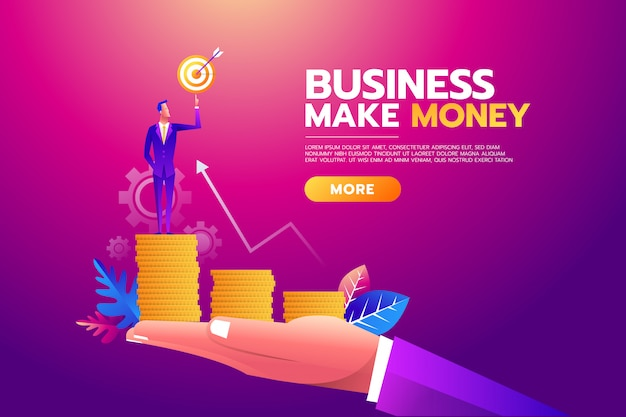 Businessman holding goal target, briefcase full of money,all targets achieved.