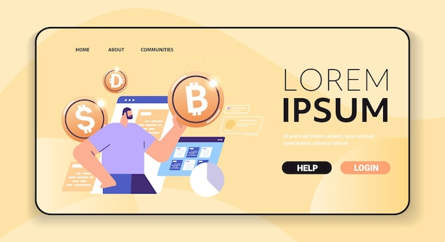 Businessman holding golden crypto coin cryptocurrency mining virtual money digital currency blockchain technology concept portrait horizontal vector illustration