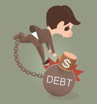 Businessman holding hammer hitting cracked debt ball