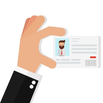 Businessman holding the id card