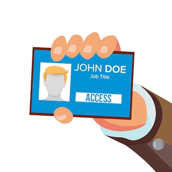 Businessman holding id card