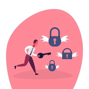 Businessman holding key for locks