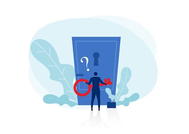Бизнесмен, держащий ключ с большим вопросительным знаком, чтобы разблокировать разрешение двери. открывающий разум концепции концепции иллюстрации плоский дизайн. изолированные на белом фоне