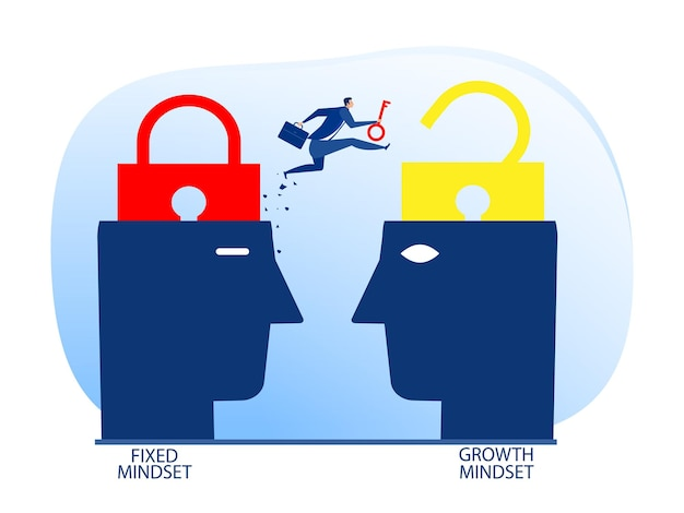Businessman holding key with jumping from fixed mindset move to growth mindset