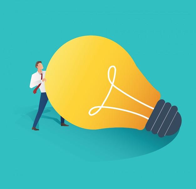 Businessman holding light bulb vector
