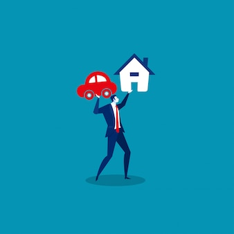 Businessman holding loan house and car.