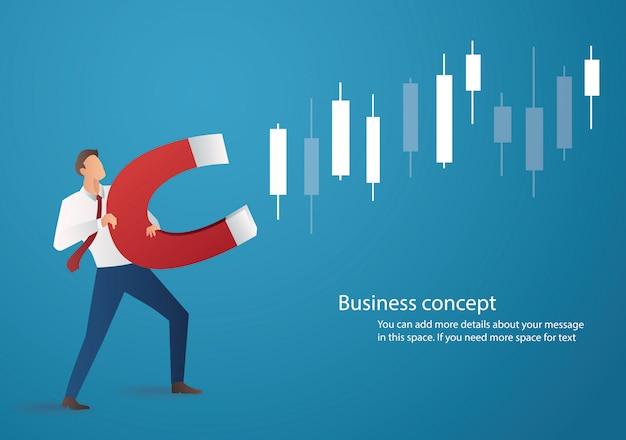 Бизнесмен держит магнит на графике подсвечника