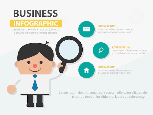 Businessman holding magnifying glass infogaphic