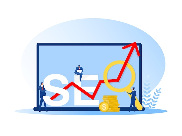 Businessman holding magnifying glass, mouse pointer or using laptop sit on analytics graph