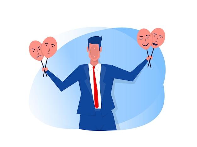 행복하거나 슬픈 표정으로 마스크를 들고 사업가 사기꾼 증후군 개념 일러스트 레이터.