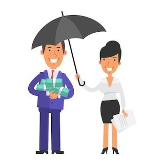 돈을 들고 웃는 사업가 우산을 들고 웃는 비즈니스 우먼