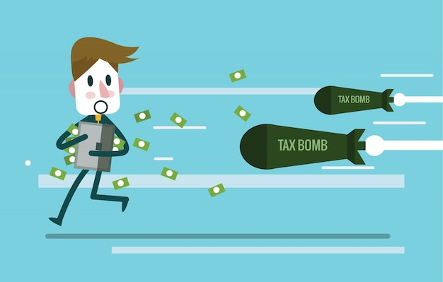 Businessman holding money case and run away from tax bomb. flat design elements