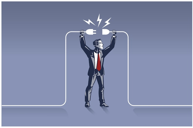 Businessman holding plugs trying to connect wires. business concept illustration of right man in the right place
