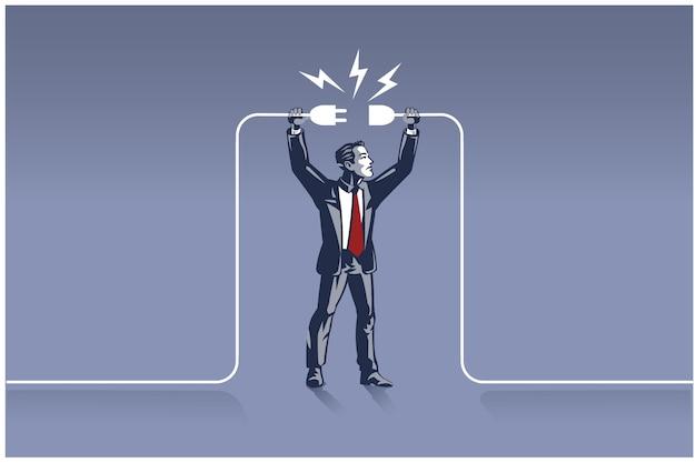 ワイヤーを接続しようとしているプラグを保持しているビジネスマン。適切な場所で適切な人のビジネスコンセプトイラスト