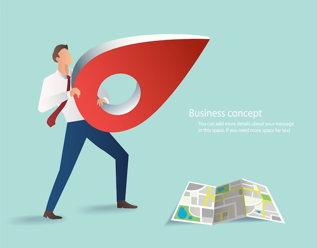 Businessman holding red pin icon