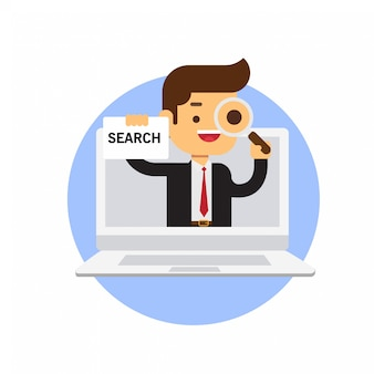 Businessman holding search sign in laptop