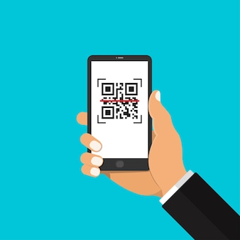 스마트 폰 들고와 qr 코드를 스캔 사업