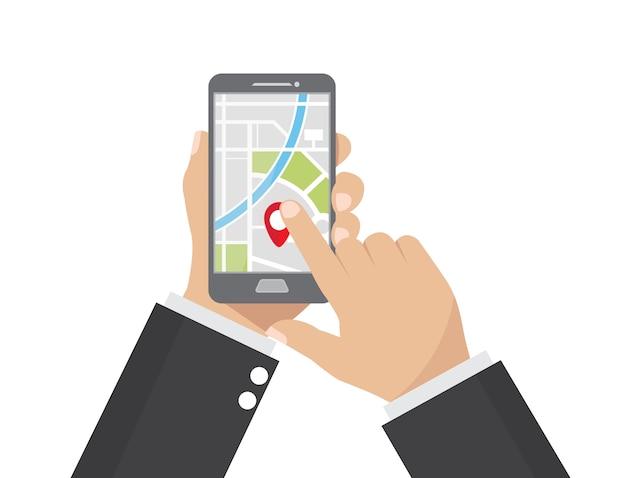 Businessman holding smartphone app map gps navigation.