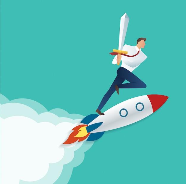 Businessman holding sword on the jet rocket