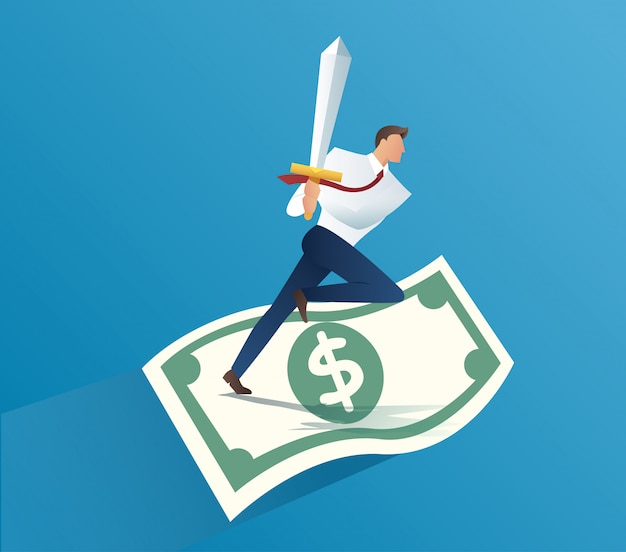 Businessman holding sword on money bills