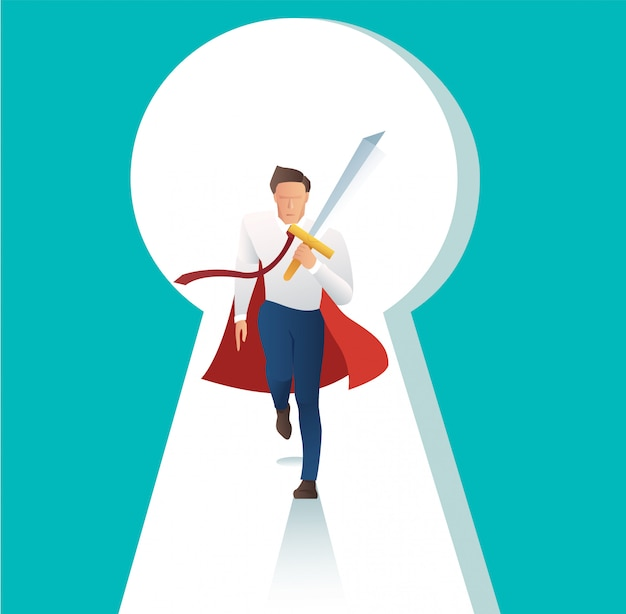 Businessman holding sword with key hole vector