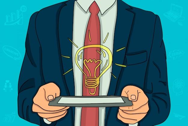 Businessman holding a tablet