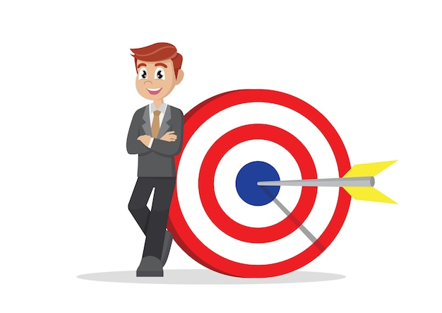 Businessman holding an target board and arrow.