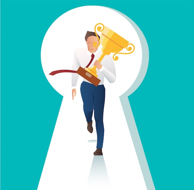 Businessman holding trophy running with key hole