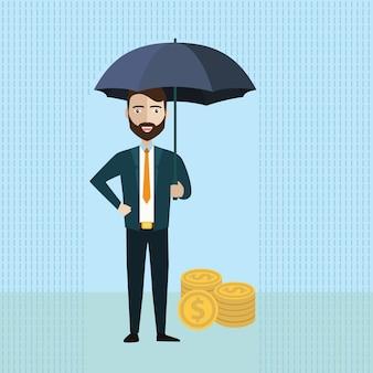 Businessman holding umbrella to protect money