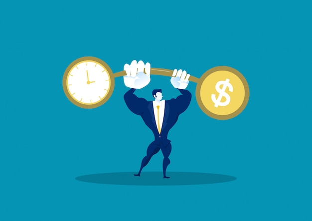 Businessman holding weights balance scales currency comparison dollar finance with time
