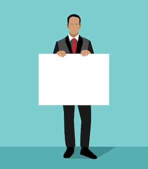 Бизнесмен держит белый лист