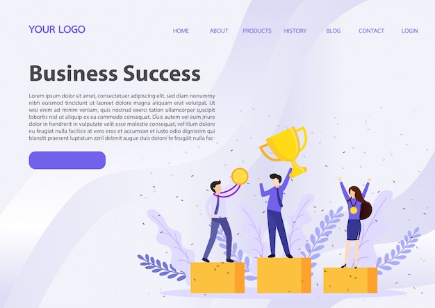Businessman holding winning trophy landing page