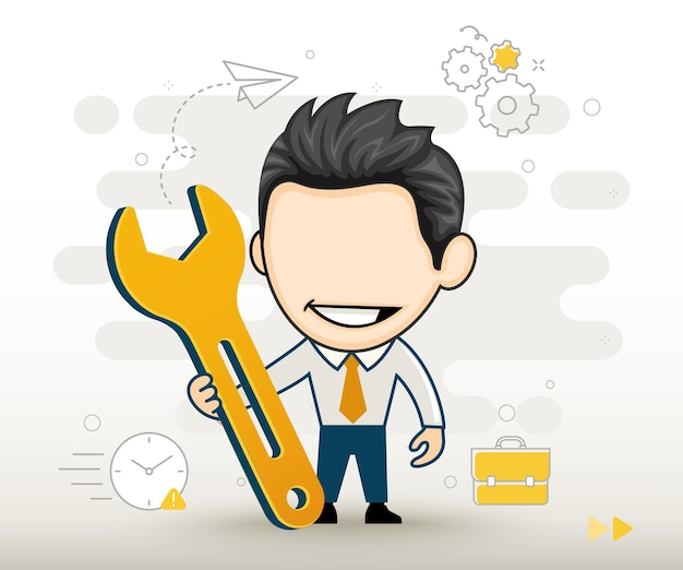 Businessman holding a wrench funny cartoon character vector