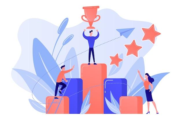 Бизнесмен держит чашку в верхней части столбца диаграммы. ключ к успеху и истории успеха, деловой шанс, на пути к концепции успеха на белом фоне.