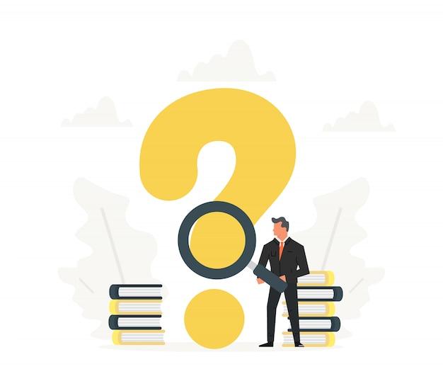 Бизнесмен держит увеличительное стекло и стоять рядом с большой знак вопроса. иллюстрация плоского дизайна. мультфильм офис человек думает.