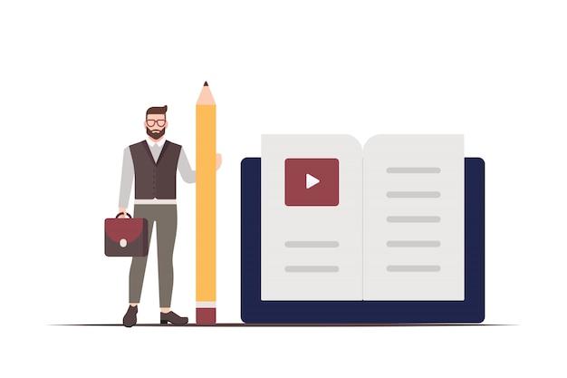 Бизнесмен держит карандаш и книгу