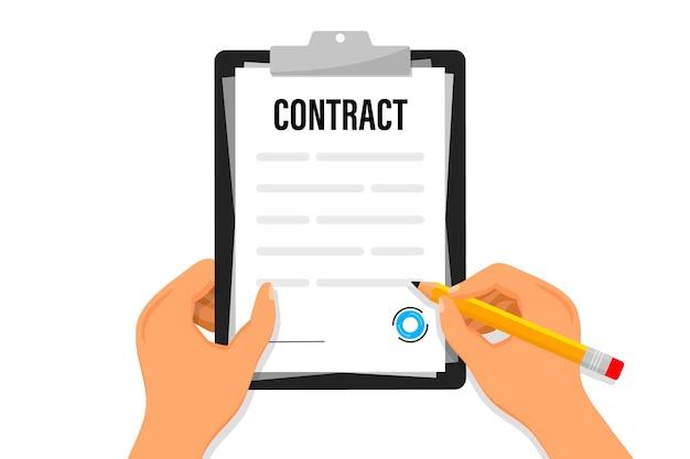ビジネスマンは、ドキュメントを保持し、契約書に署名します