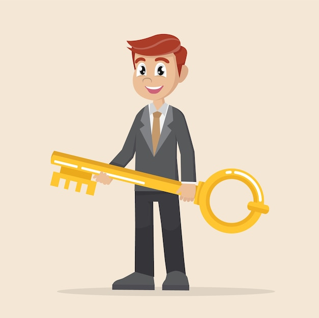 Businessman holds a golden key in his hand.