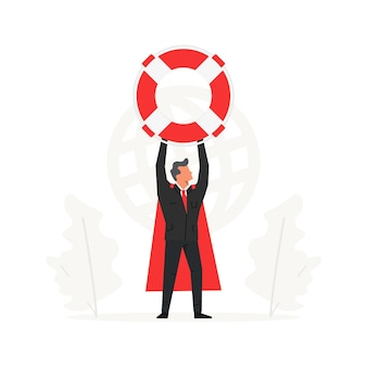 A businessman holds a large lifebuoy above his head insurance companies and business assistance