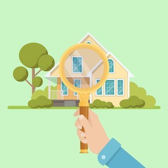 사업가 검색 집에 대 한 돋보기를 보유하고있다. 부동산 개념. 재산 검사