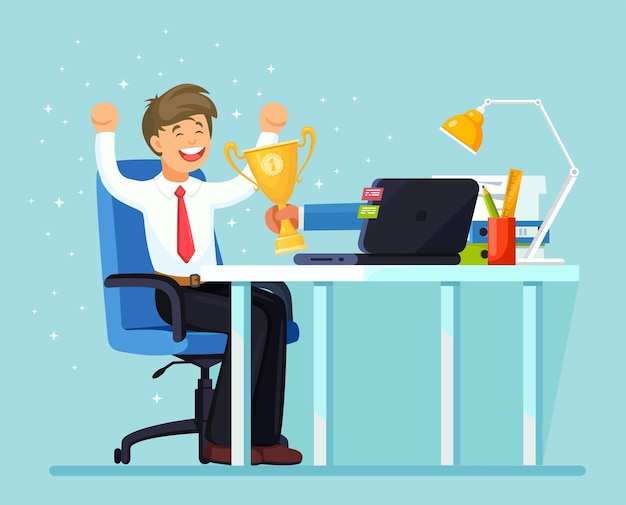 Businessman holds out a golden cup from a monitor to a happy office worker