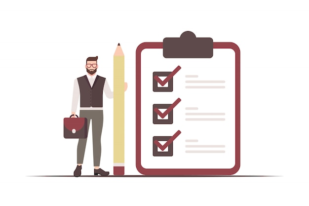 Businessman holds a pencil and a checklist board