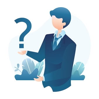 Businessman holds question mark illustration with tropical leaves