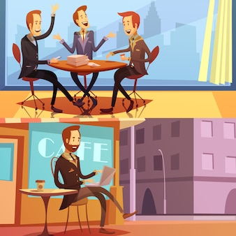 Businessman horizontal cartoon background set with business meeting and work symbols isolated vector illustration