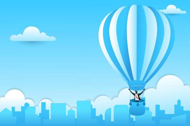 Businessman in a hot air balloon over city on clouds background