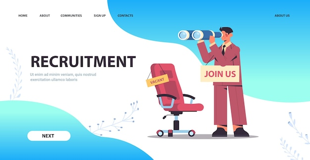 Businessman hr manager with binoculars join us vacancy open recruitment and hiring concept full length horizontal copy space vector illustration